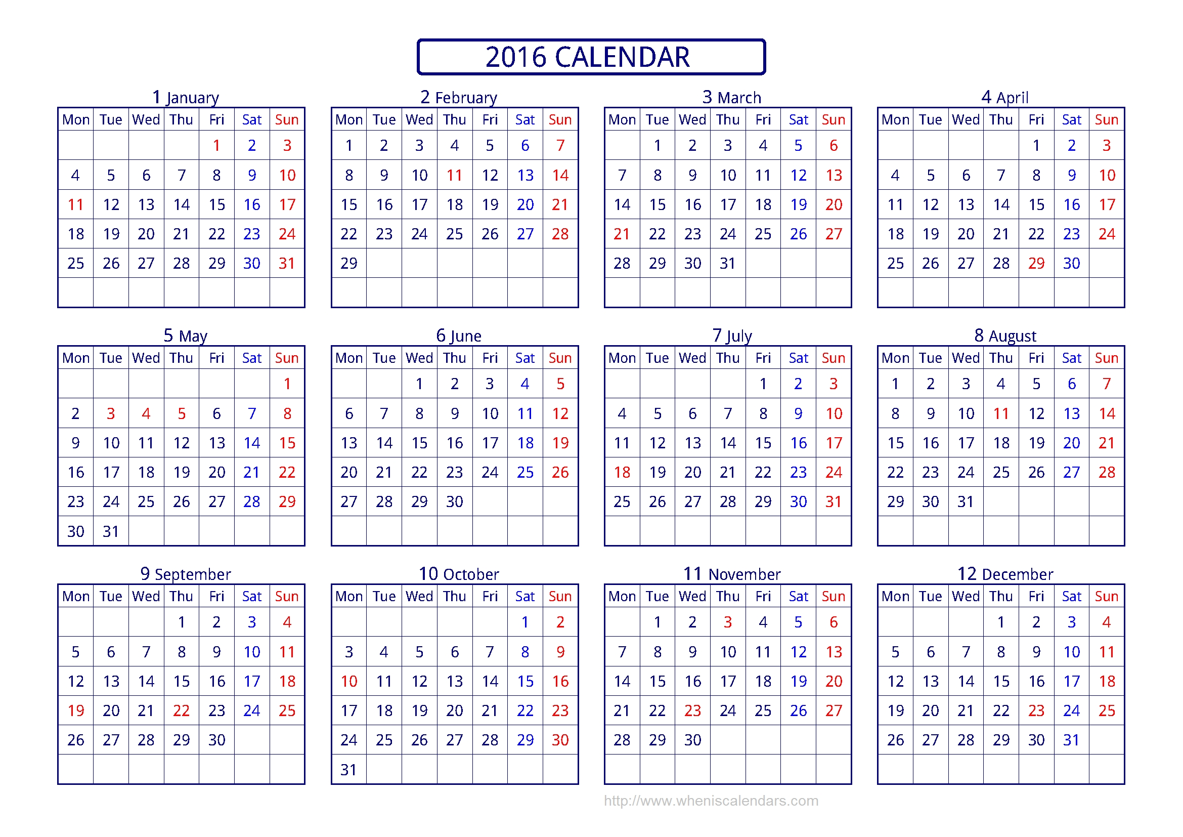 Calendar 2016 Template Printable Pdf & Image (10 Templates)