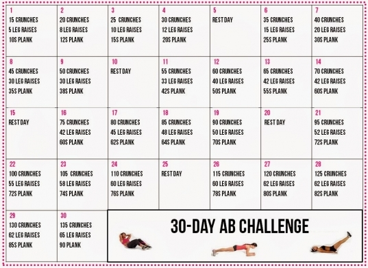 Healthy Living: 30 Day Ab Challenge Calendar