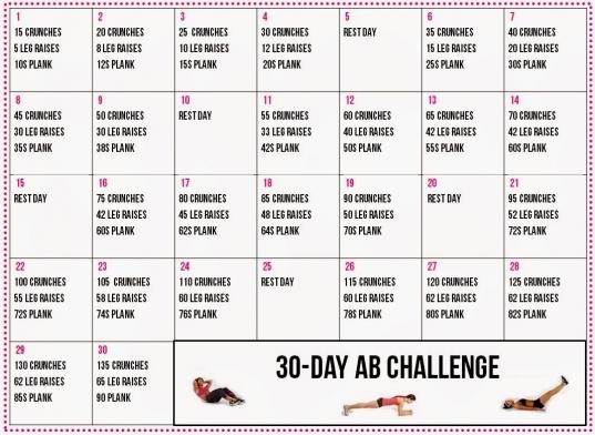 Healthy Living: 30 Day Ab Challenge Calendar