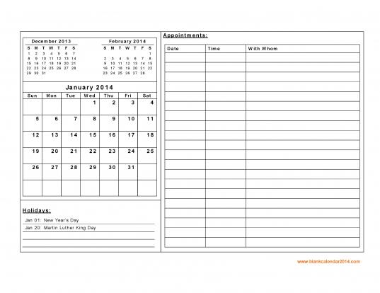 January 2014 Calendar Printable   Free Printable Calendar Template