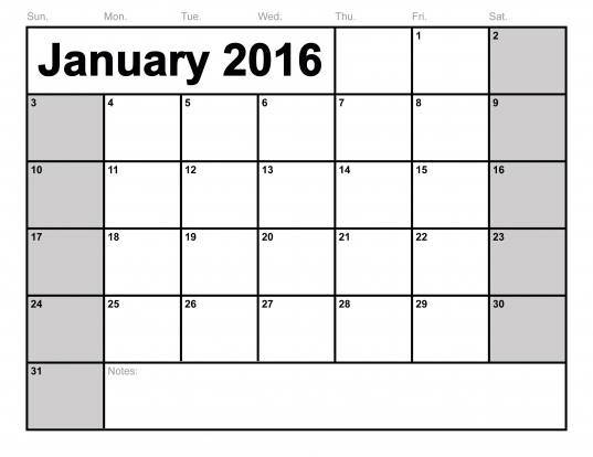 January 2016 Calendar Printable Template (8 Templates)   When Is