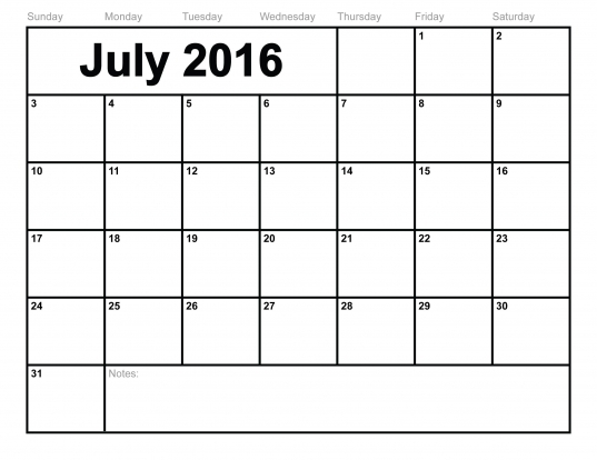 July 2016 Calendar Printable Template (8 Templates)