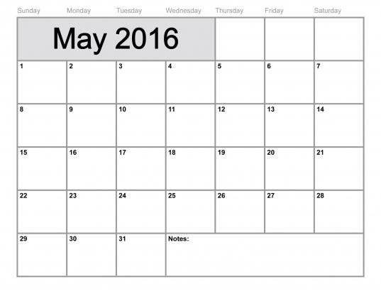 May 2016 Calendar Printable Template (8 Templates)