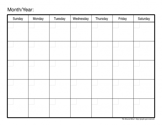 Month Calendar Template | B2bno