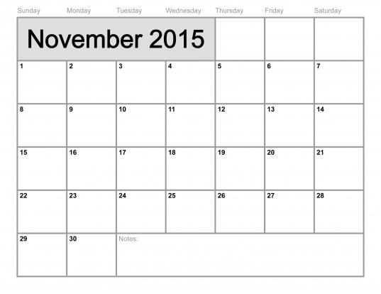 November 2015 Calendar Printable Template (8 Templates)