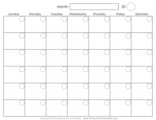 Printable Monthly Calendar | Wikisocl
