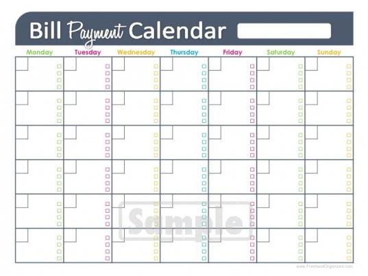 Printable Payment Calendar | Blank Calendar Design 2016