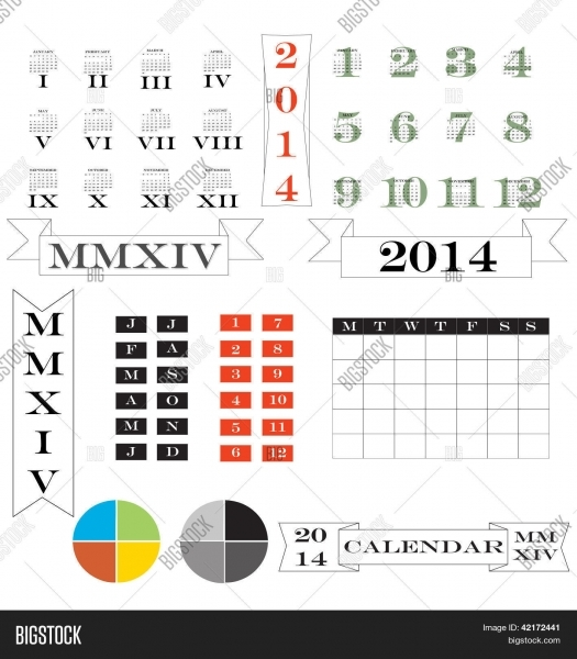 Roman Numerals Calendar And Elements For 2014 Stock Vector & Stock