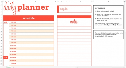 Simple Day Planner Template. Template Sample. Free Printable Daily