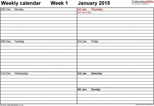 Weekly Calendar 2015 Uk   Free Printable Templates For Pdf