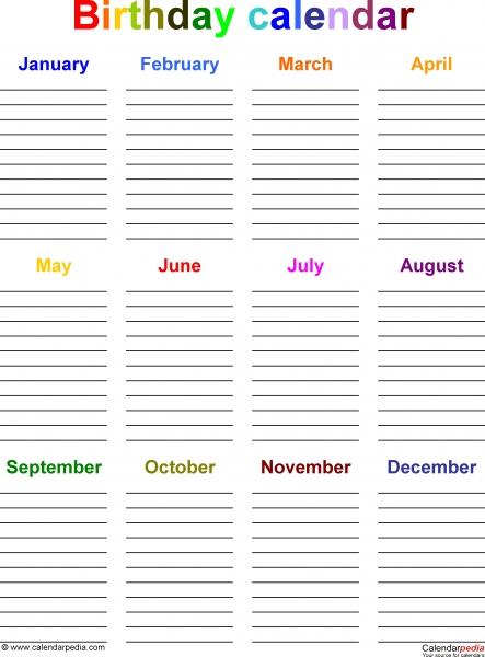 Birthday Calendars   7 Free Printable Pdf Templates