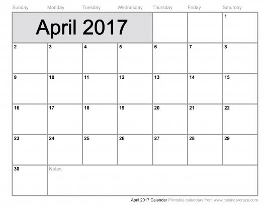 2017 April Monthly Calendar Template   Calendar   Pinterest