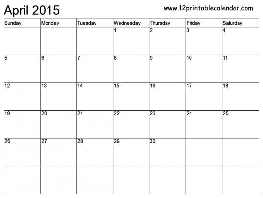 Free Printable Calendar Templates Month   2015 Calendar: Printable