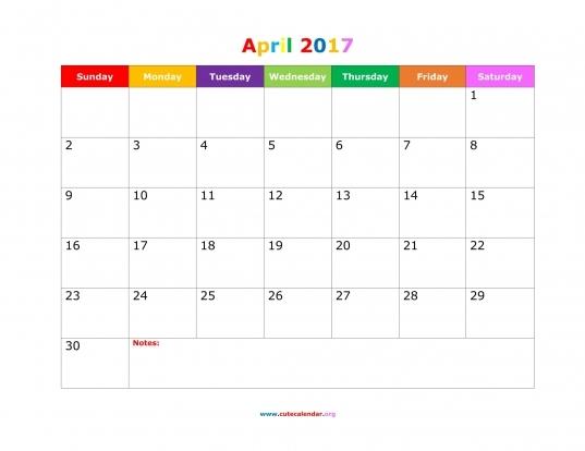 April 2017 Calendar Cute | Calendar Printable Free