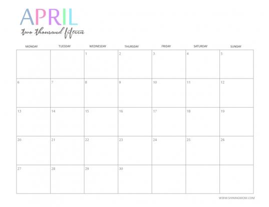Free 2015 Printable Calendar  Shiningmom: Fun And Colorful!