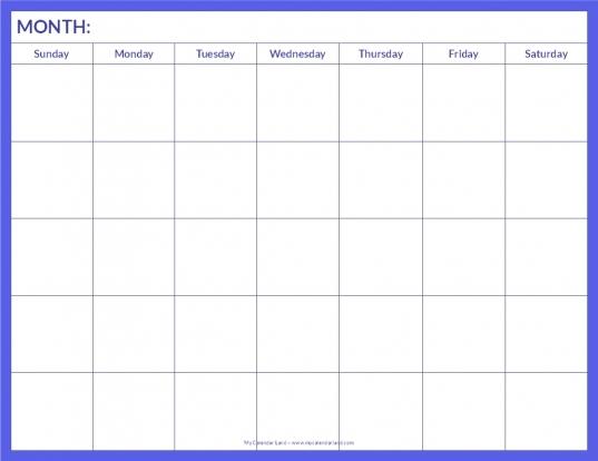 5 Week Blank Calendar Printable | Calendar 2017 Printable