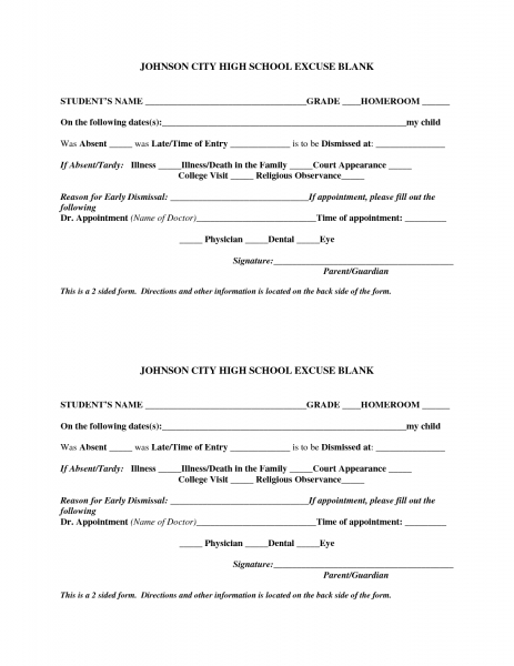 Best Photos Of Templates For Doctor Excuse Form   Work School