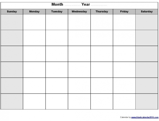 Monday To Sunday Calendar Template | Online Calendar Templates