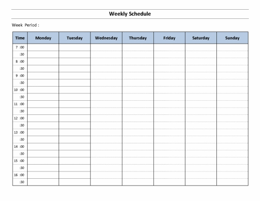 Monday To Sunday Schedule Template Lined Paper Template