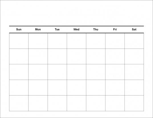 1 Week Calendar Template – Blank Calendar 2017