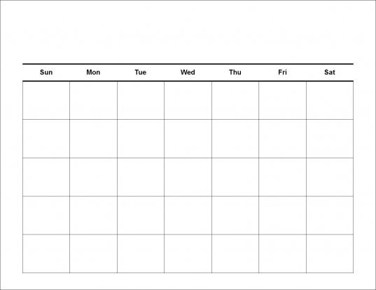 5 Day Blank Calendar | Online Calendar Templates