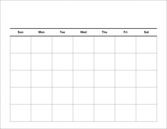 5 Day Calendar Template – Blank Calendar 2017