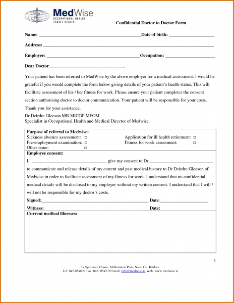8+ Free Printable Doctors Note For Workreference Letters Words