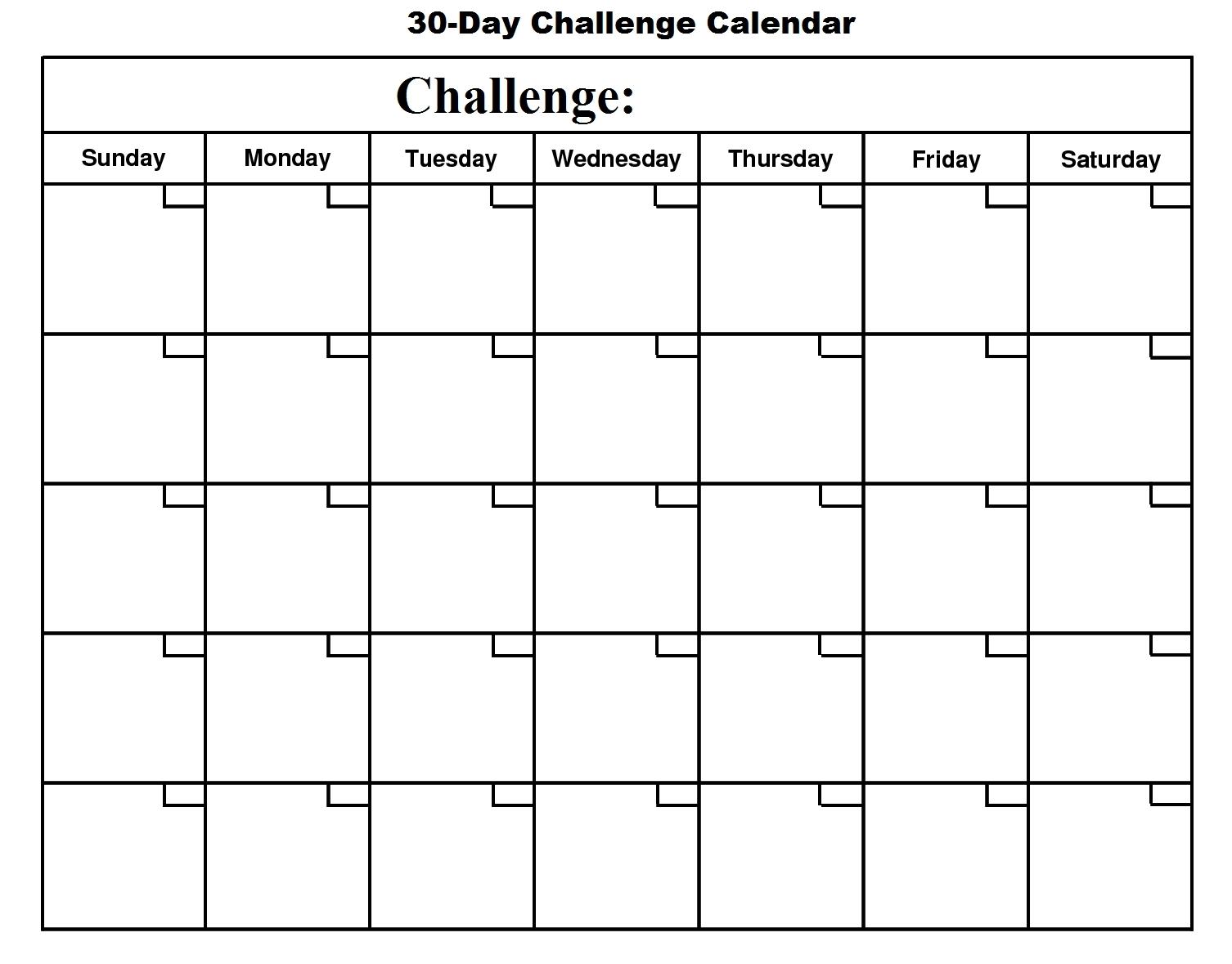 Blank 30 Day Calendar | Printable Online Calendar