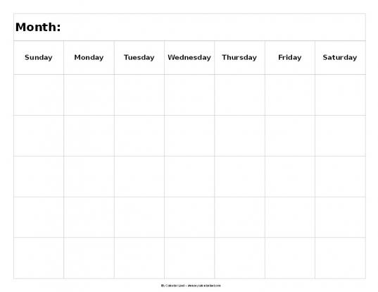 Blank 5 Day Calendar Printable Calendar Template | Printable