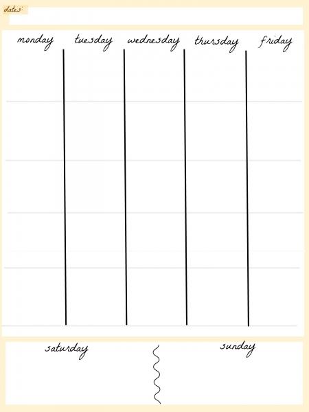 Blank Calendar  Week