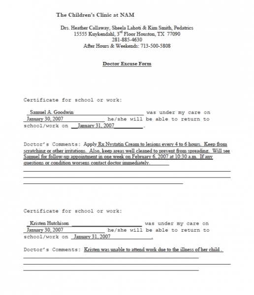 Doctors Excuse Template   Cyberuse