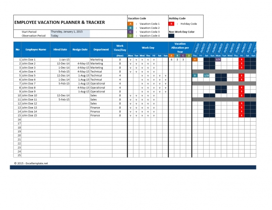 Employee Attendance Calendar And Vacation Planner Spreadsheets