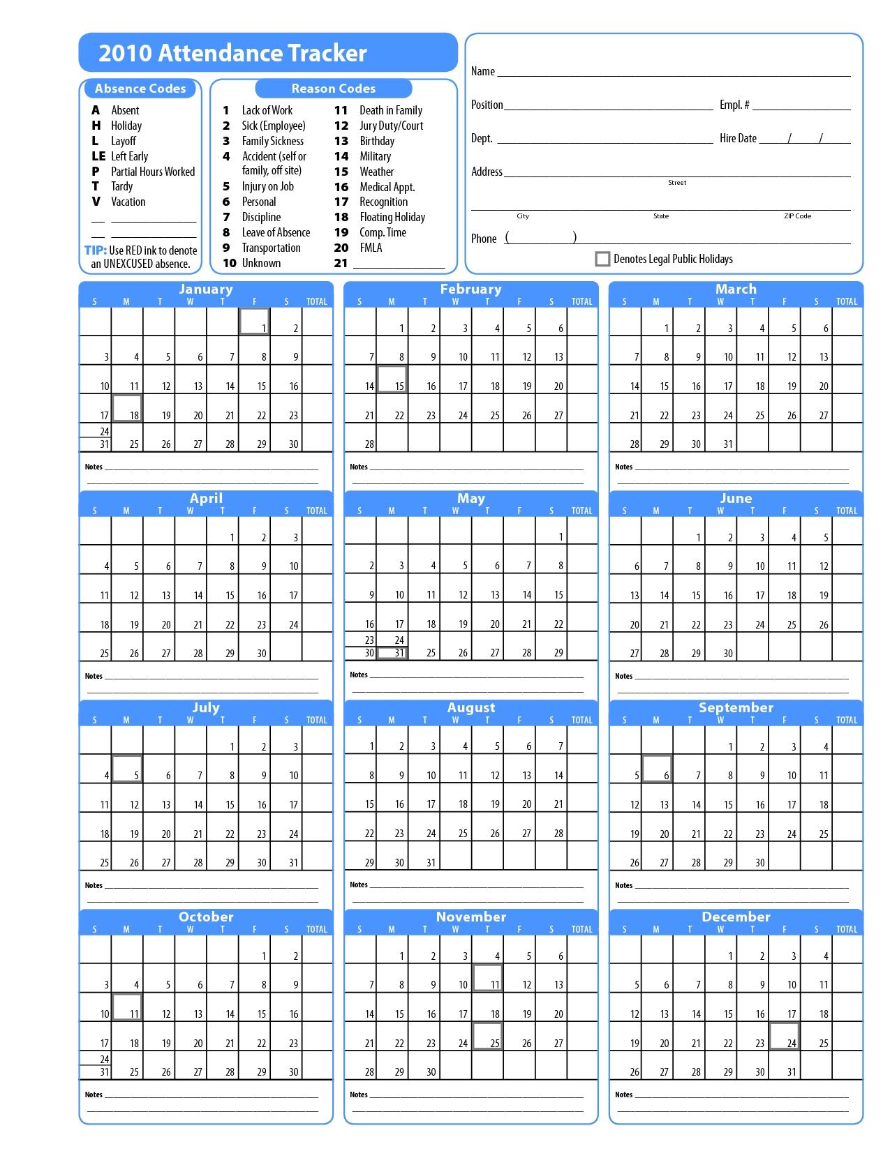 Free Template For Attendance Calendar | Blank Calendar Design 2017