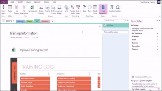 Microsoft Onenote 2013 Training: Using Templates