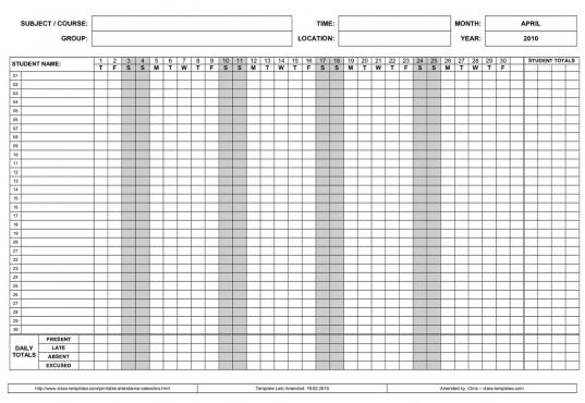 Printable 2017 Employee Attendance Calendar | Calendar Template
