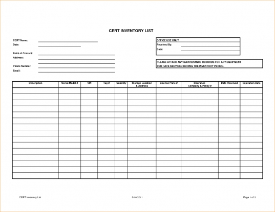 4+ Equipment Inventory Template   Outline Templates