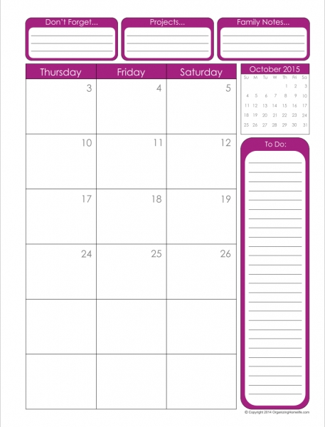 8 X 11 Blank Printable Calendar | Calendar Template 2017
