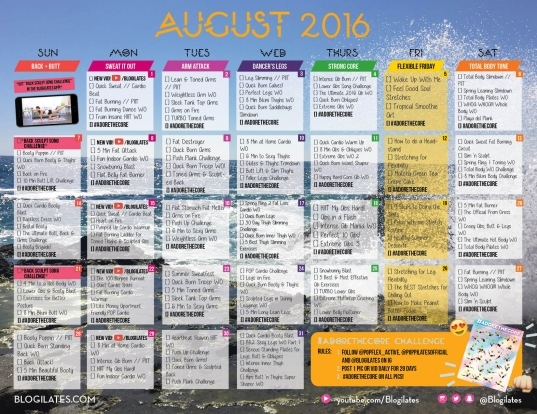 August 2016 Workout Calendar   Blogilates: Fitness, Food, And Lots