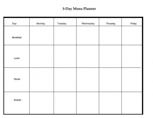 Blank Calendar Template 5 Day Week   Calendar Template 2017