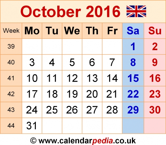 Calendar October 2016 Uk, Bank Holidays, Excel/pdf/word Templates
