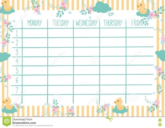 Cute Weekly Planner Stock Vector. Image Of Plan, Ba   76412894