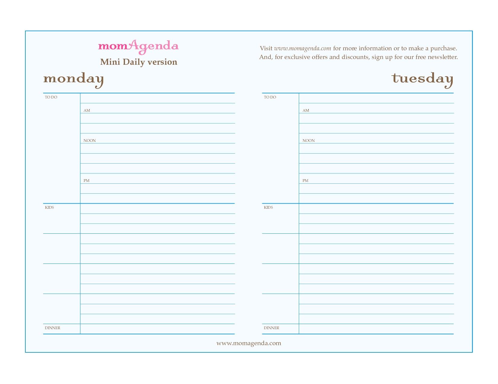 Free Printable Daily Calendar Template | Blank Calendar Design 2017
