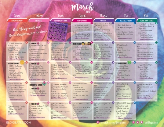 March 2017 Workout Calendar! | Blogilates: Fitness, Food, And Lots