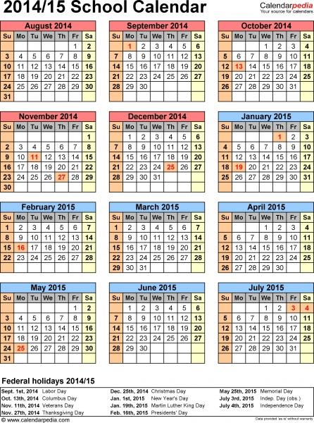 School Calendars 2014/2015 As Free Printable Word Templates