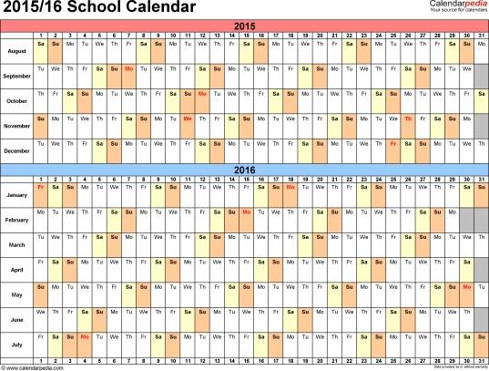 School Calendars 2015/2016 As Free Printable Excel Templates