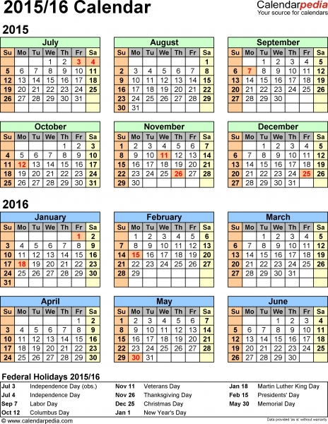 Split Year Calendar 2015/16   Printable Pdf Templates