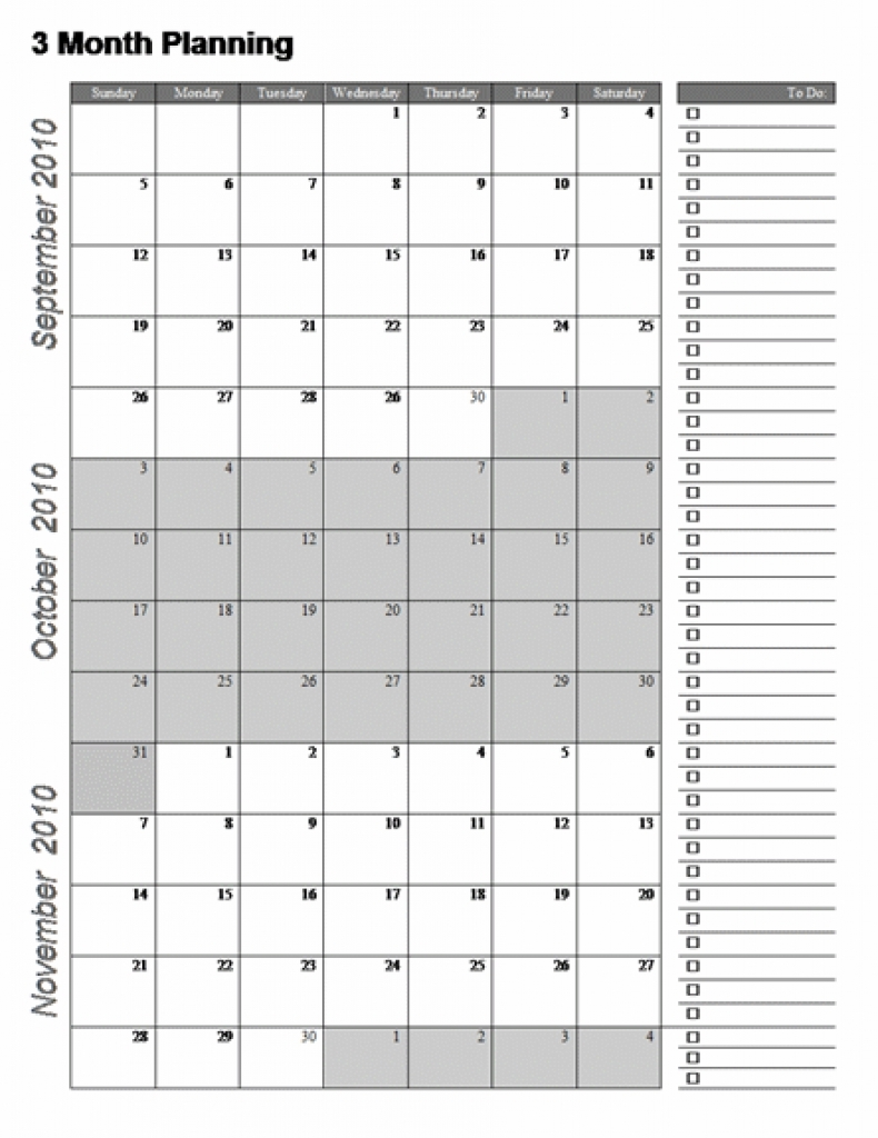 2017 Three Month Calendar Template 12l Free Printable Templates