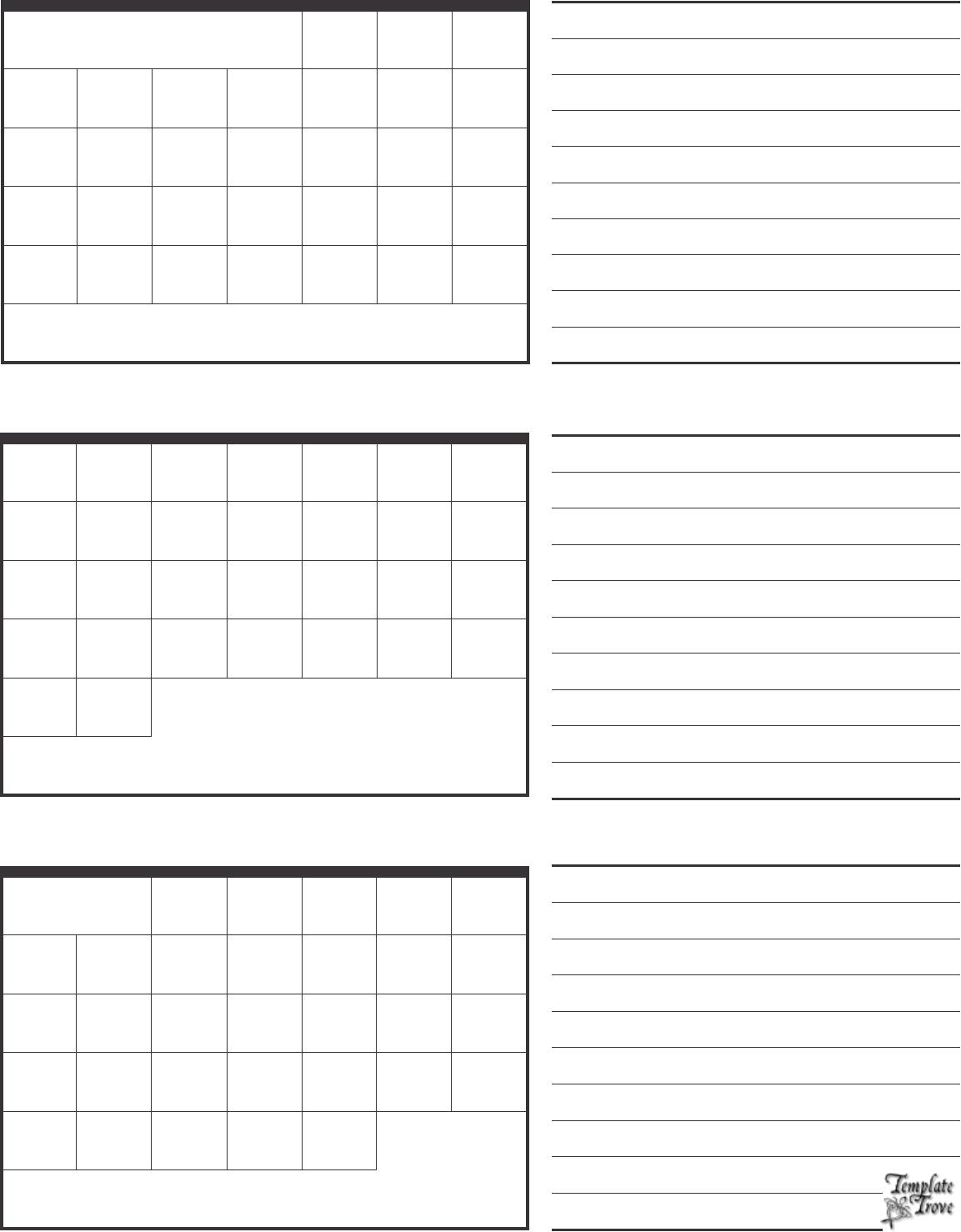 3 Month Calendar Template Printable Calendar 2017 | Printable