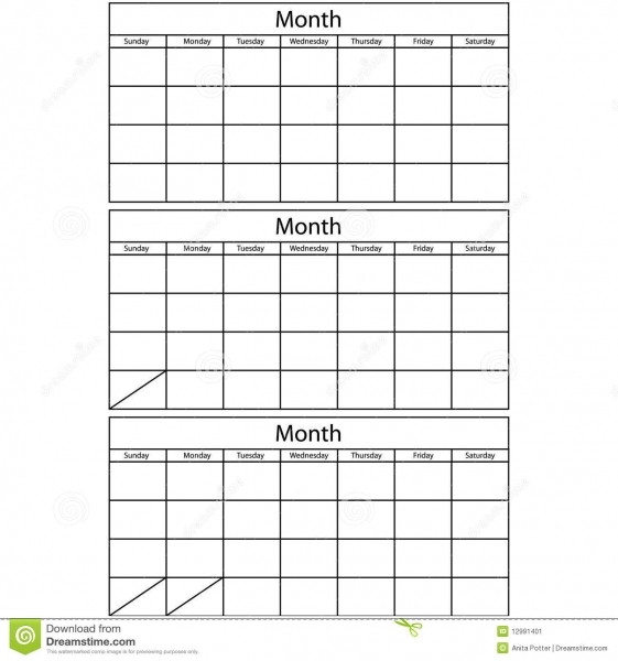 Blank Calendar 3 Templates Stock Vector. Image Of Month   12991401