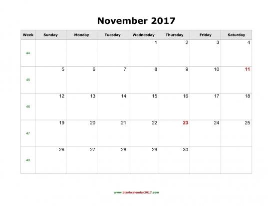 Blank Calendar For November 2017